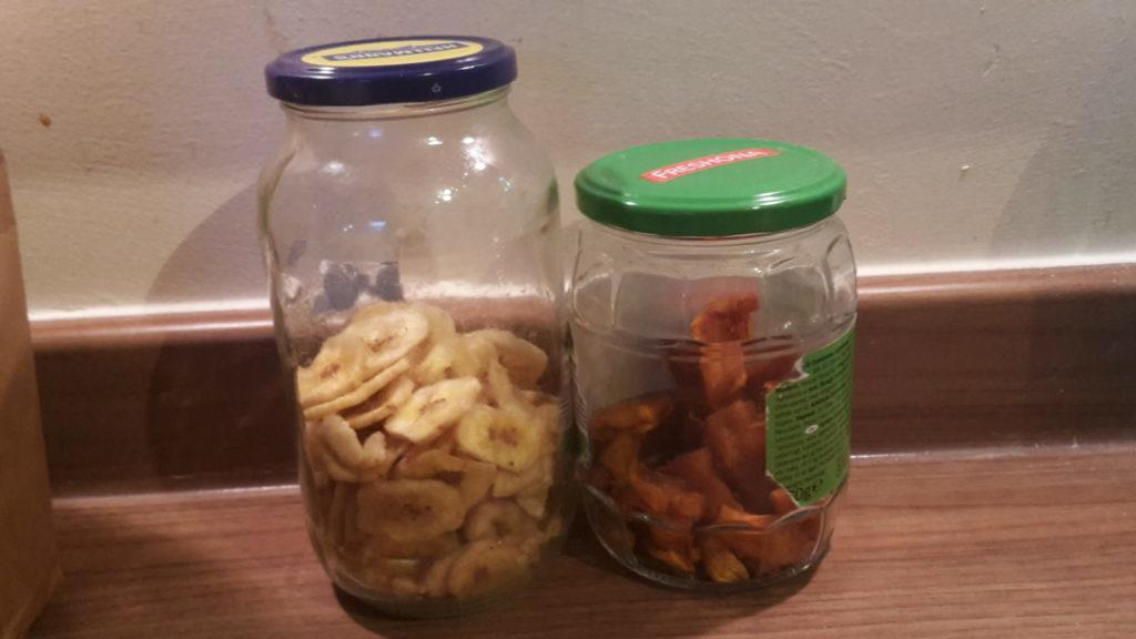 Dried fruit in glass jars