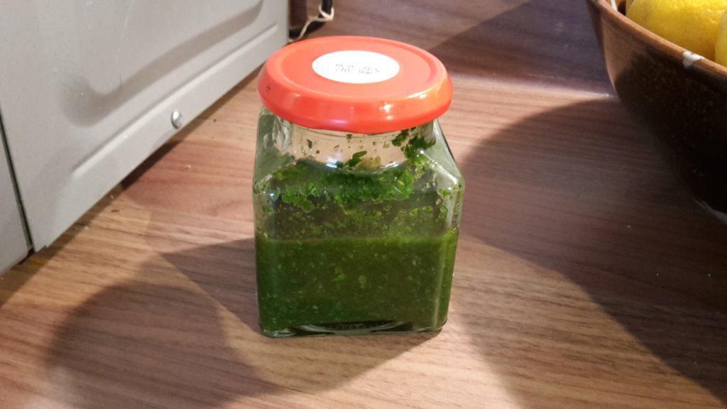 Mint sauce in jar.